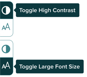 """Screenshot of """"Toggle High Contrast"""" and """"Toggle Large Font Size"""" buttons activated as part of toggle switch"""